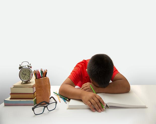 Tired child sleeps on his schoolbooks.
